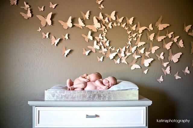3D Butterfly Wall Art Home Decor Circle Burst Set of 80