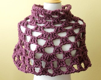 Crocheted Chunky Purple Capelet. Poncho. Cowl.