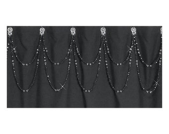 Double Swag...Shower Curtain Bling... Crystal and Black or custom colors