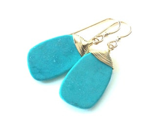 Turquoise Earrings, Turquoise Slab Gold Earrings, Turquoise  Gold Earrings