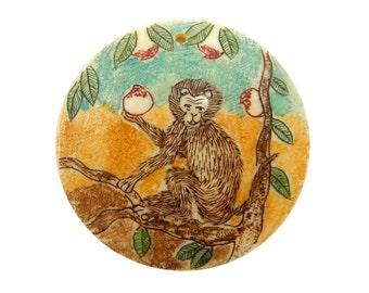 Chinese Zodiac Year of the Monkey Hand Painted Round Shape Bone Top Center Drilled Bead (RK39B2b-19)