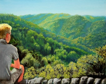 crabtree falls painting, figure painting, blue ridge mountain painting, landscape painting, realism art, artwork for sale, realistic art