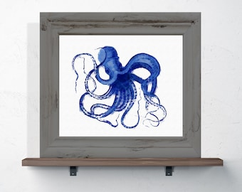 Watercolor Octopus Print 8x10 or 11x14 Coastal Wall Art