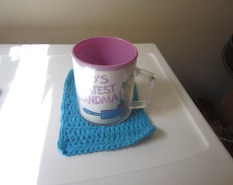 CROCHETED HOT BLUE Coasters in Cotton Yarn Sold in a Set of 4