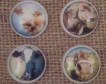 Farmhouse Magnet Set - Cow Magnets - Kitchen Magnets - Refrigerator Magnets - Kids Room Decor - Birthday Gift