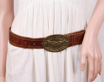 Leather belt, Vintage women belt, Women's leather belt, Brown leather belt, Wide leather belt, Embossed leather belt, Brass buckle eagle