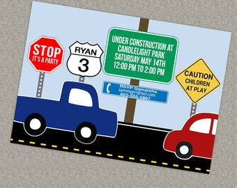 Road signs, Cars  birthday invite printable, digital file