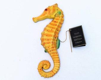 Vintage Seahorse Plaque, Hand painted Seahorse