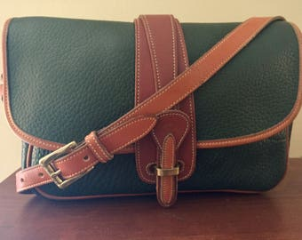 Authentic Vintage Forest Green Dooney And  Bourke Messenger Bag/Equestrian Crossbody Bag, Green Pebbled Leather and British Tan Trim, Clean!