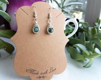 gemstone earrings, crystal earrings, turquoise earrings, drop earrings, dangle earrings, wire wrapped, stone earrings, african turquoise