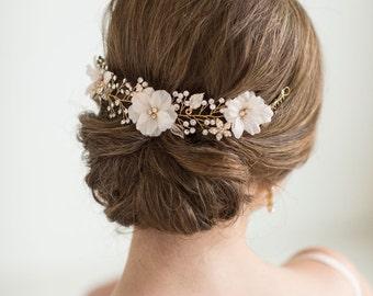 Wedding Hair Vine, Gold Hair Vine, Bridal Flower Hairpiece, Bridal Hair Comb, Silver Bridal Hair Vine, Gold Crystal Hair Vine