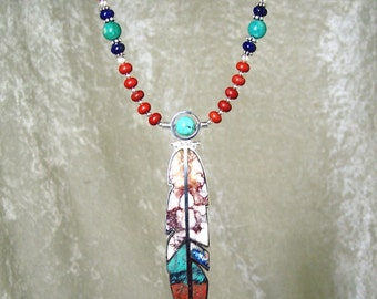 DESERT SUNSET - OOAK Rev. Feather Necklace in Wild Horse, Sonora Sunset, Kola Wood, Turquoise, Red Jasper, Lapis , and Sterling Silver
