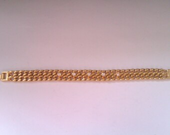 vintage 2 strand gold plated bracelet with clear stones