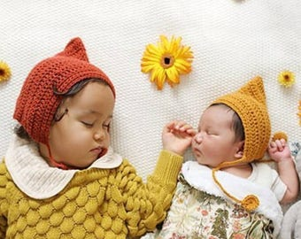 Baby shower gift, new baby gift, bonnet, knit Baby hat, baby gift, toddler knit hat, gnome hat, elf hat, knitted bonnet, baby bonnet.
