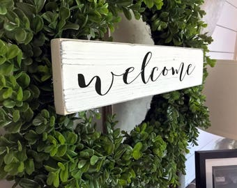 Welcome Sign | Wreath Sign| Front Door Sign | Wood Sign | Farmhouse | Gallery Wall Sign