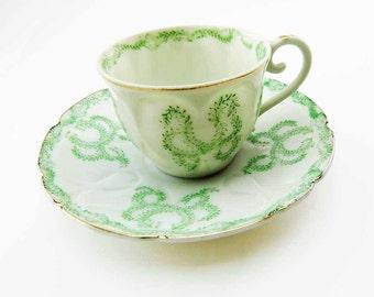 MOJAE China Factory of JAPAN Demitasse Tea Cup and Saucer Set 1940s Ivy Wreath Garland Porcelain Bone China