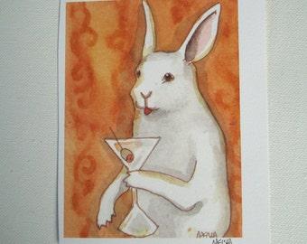 Bunny with a Martini - Small Archival Fine Art Print