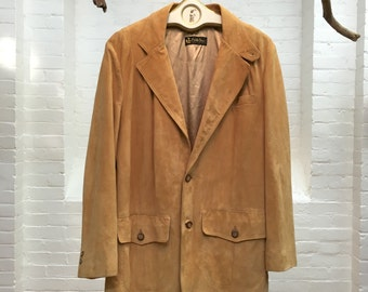 vintage suede sports coat // men's suede jacket blazer // mens size 40 sports jacket // Pebble Beach Golf club shop