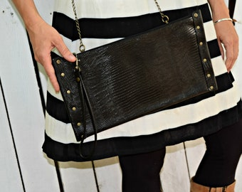 Black Leather Evening Clutch, with Crossbody Chain Strap