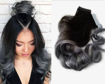 Dark Root (You Choose) Ombre Tape in Human Hair Extensions Charcoal Gray Balayage Black Brown Silver Remy Ombre