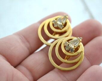 1960s Rhinestone Circles Clip Earrings