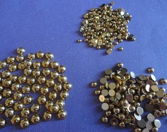 Kawaii AB flatback pearl  Gold color mix  more than 200 pcs-- USA seller