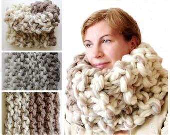 Cowl Scarf Chunky Knit Scarf Super Chunky Infinity Scarf Super Bulky Scarf Chunky Scarf Super Chunky Wool Scarf 14x32 inches 35X80 cm