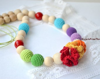 Rainbow Teething necklace, Flower Nursing necklace, Babywearing accessory, Chewing beads,Breastfeeding jewelry,Mommy to Be,Wooden Baby toy