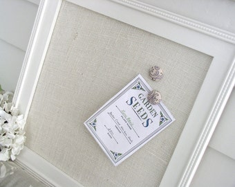 French Cottage Magnet Board in Ivory Burlap - Featuring our Handmade Wood Frame - Magnetic Bulletin Board 14.5 x 14.5  - Memo Message Board