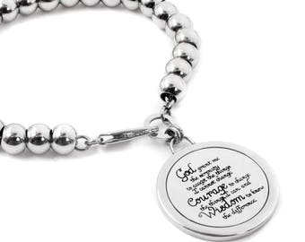 God Grant me the Serenity Bracelet, Beaded Serenity Bracelet, Serenity Quote, Engraved Serenity Prayer, Spiritual Bracelet, Chunky Bracelet