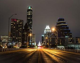 Downtown from the Congress Bridge, Austin Photography, Skylline, Austin Art, Texas Photography, City Art, South Congress,