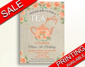 Tea Party Birthday Invitation Tea Party Birthday Party Invitation Tea Party Birthday Party Tea Party Invitation Girl burlap roses QVTCB
