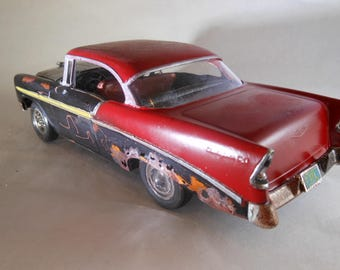 Scale Model Car,Junker Model,Classicwrecks,Rusted Wreck,Red Chevy,OOAK