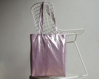 Metallic Lilac or Pink Tote Bag - New York Tote Bag - Magazines Bag - Laptop Tote Bag - Books Bag