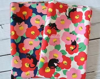 Japanese Fabric Cat Camellia Fat Quarter or 1/4 Yard set