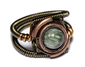 Seraphinite Ring, Green stone ring, Natural stone ring, Chatoyant jewelry, Steampunk Jewelry seen on TV, Warehouse 13
