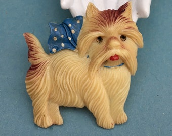 Vintage Celluloid Pin Large Westie Terrier Made in Japan