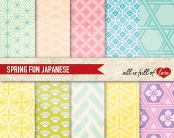 JAPANESE Digital Paper Pastel scrapbook papers, chevron background quatrefoil scallops pattern Japan Printable Scrapbooking Pages Graphics