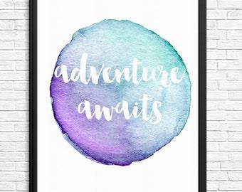 Adventure Awaits Watercolour Digital Print