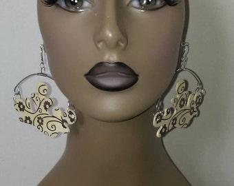 Uniquely Cut Beautiful Floral Embellished Wooden and Wire Earrings, Dangling Earrings, Large Earrings, Womens Earrings, Handmade Jewelry