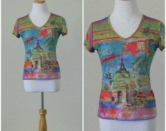 FREE usa SHIPPING vintage women's Paris polyester shirt short sleeves v neck bright colors collage print retro polyester spandex size S