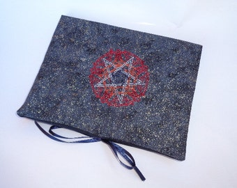 BOS, Journal, Diary - Embroidered Pentangle on Black Reusable Book Cover -Lined Notebook Included