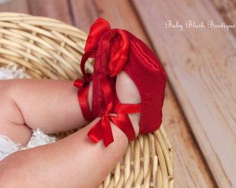 Red Taffeta Baby Shoes Soft Ballerina Slipper