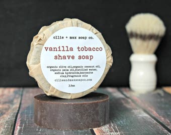 Vanilla Tobacco Shave Soap, Vegan Shaving Soap