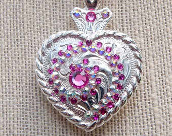 Concho heart necklace, crystal bling concho necklace, western necklace, cowgirl necklace, Pink concho necklace, cowgirl bling