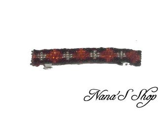 hair clip, woven, black and orange beads