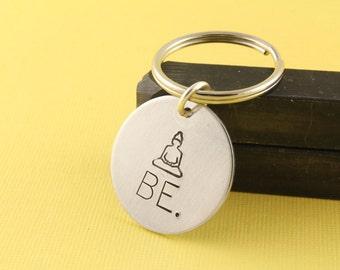 Buddha Keychain - Be Keychain - Silver Key Chain - Buddha Keyring - Gift for Yoga Lover - Meditate Keychain - Gift for Her - Yoga Gift