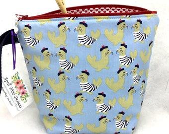 French Seals Project Bag, Knitting Bag, Crochet Project Bag, Utility Bag, All Purpose Bag