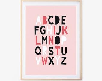 Nursery Alphabet Print, Collage, Printable Wall Art, Nursery Print, Wall Art, Nursery Art, Digital Download, Paper Art, Paper Art, ABC Print