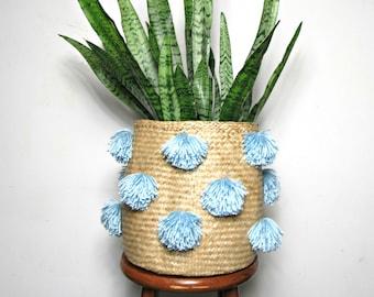 Indigo Pom Pom Rice Baskets / Belly Baskets Pompom Seagrass Storage Basket Woven Vietnam Tassels Silk Bamboo Pompom Asian Natural Home Decor